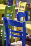 Colourful Chairs And Tables. Isolated royalty free stock image