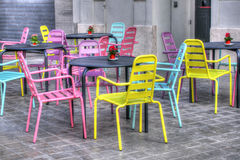 Colourful chairs in Valencian cafe, Spain Royalty Free Stock Photography