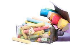 Colourful chalks in a box Royalty Free Stock Images
