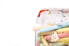 Colourful chalks in a box Stock Image