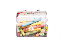 Colourful chalks in a box Stock Photo