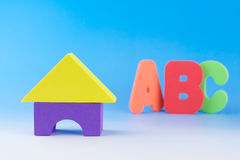 Colourful children foam blocks and ABC Royalty Free Stock Image