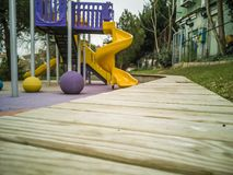 A colourful children playground equipment. Istanbul, Turkey - December 16, 2018 royalty free stock photo