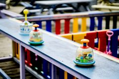 Colourful children`s play area with selective focus located in Sunderland. Selective focus on children`s toys. Playground is located next to a beach in Stock Photo