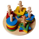 Colourful children's Pyramid (puzzle) isolated. On a white background Royalty Free Stock Photo