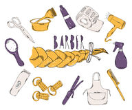 Colourful childrens illustration with a pencil. The collection of linear hand drawn icons. Icons Barber tools. The Royalty Free Stock Images