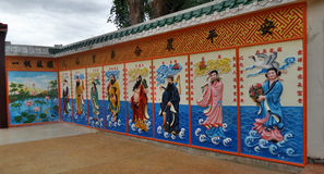 Colourful Chinese idols on wall painting in the shrine Stock Photos