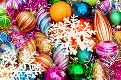 Colourful christmas. Decoration on a shiny background Stock Photography