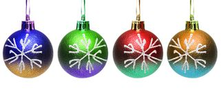 Colourful christmas balls. Isolated on the white Stock Photos