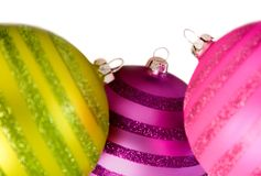 Colourful christmas balls on white Stock Photography