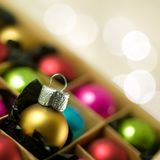 Colourful Christmas Baubles Stock Photo
