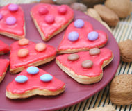 Colourful christmas cookies. Some colourful christmas cookies on a plate Stock Photography