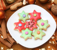 Colourful christmas cookies. Some colourful christmas cookies on a plate Stock Photos