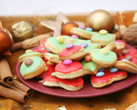Colourful christmas cookies. Some colourful christmas cookies on a plate Stock Image