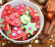 Colourful christmas cookies Stock Image