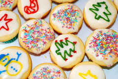 Colourful Christmas cup cakes Stock Photography