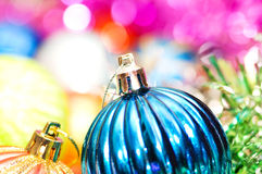 Colourful christmas decoration. On a shiny background Stock Photos