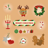 Colourful Christmas greeting card with reindeer and cute stuffs.vector illustration Royalty Free Stock Photo