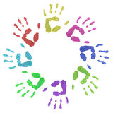 Colourful Circle Hand Prints. Colourful children's hand prints in a circle on a white background Royalty Free Stock Photography