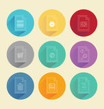 Colourful circles with computing icons Stock Photo