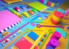 Colourful circuit board stock illustration