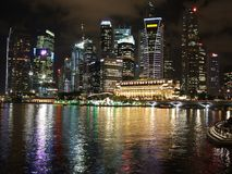 Colourful cityscape at Marina Bay Royalty Free Stock Photos
