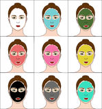 Colourful clay masks and body Royalty Free Stock Photos