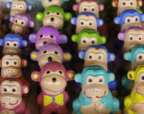 Colourful clay monkeys. In 'Dan Kwien' the biggest clay market in Thailand royalty free stock photography