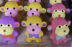 Colourful clay monkeys. In 'Dan Kwien' the biggest clay market in Thailand Royalty Free Stock Image