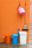 Colourful cleaning equipment. Stock Photos
