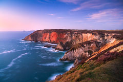 Colourful cliffs in Cornwall, UK. Royalty Free Stock Image