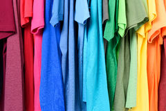 Colourful clothes hanging abstract background Stock Image