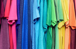 Colourful clothes hanging abstract texture background Royalty Free Stock Photo