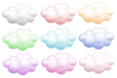 Colourful clouds. Illustration of the colourful clouds on a white background Stock Photography
