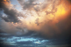 Colourful cloudy sky. The colourful cloudy sky on a sunset Royalty Free Stock Image