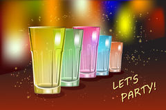Colourful cocktail glasses on the shiny and glossy background. Colorful cocktail glasses on the shiny and glossy background with sparkles. Party concept. Vector Royalty Free Stock Photography