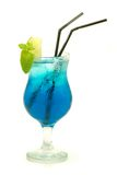 Colourful cocktail isolated. Blue cocktail with lime and mint Royalty Free Stock Photography
