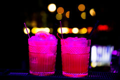 Colourful cocktails nice served with beautiful bokeh royalty free stock image