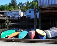 Cowichan Bay boat collection Royalty Free Stock Image