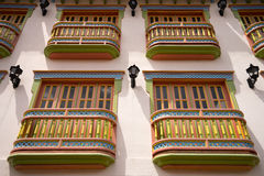 Colourful colonial balconies in Guatape. Closeup of colonial balconies in Colombia Stock Image