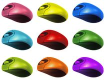 Colourful Computer Mouses Stock Photo