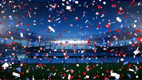 Colourful confetti falling down in front of a sports stadium. Animation of colourful confetti falling down in front of sports stadium vector illustration