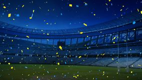 Colourful confetti falling down in front of a sports stadium. Animation of colourful confetti falling down in front of sports stadium royalty free illustration
