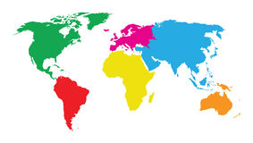 Colourful continents world map. A colourful continents world map Royalty Free Stock Photo