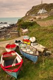 Colourful Cornish fishing boats, Priests Cove, Cape Cornwall. royalty free stock photography