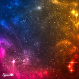 Colourful Cosmic background with nebula and bright stars.Vector illustration. Royalty Free Stock Photography