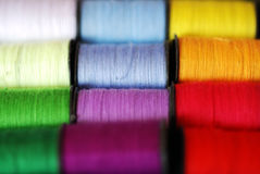 Colourful Cotton Thread. Colourful spools of bright cotton thread, in macro Royalty Free Stock Image