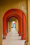 Colourful covered arched sidewalk Royalty Free Stock Images