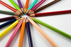 Colourful crayons. Pastel colors in circle whith white background Royalty Free Stock Photo