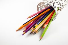 Colourful crayons. On a plane Stock Image